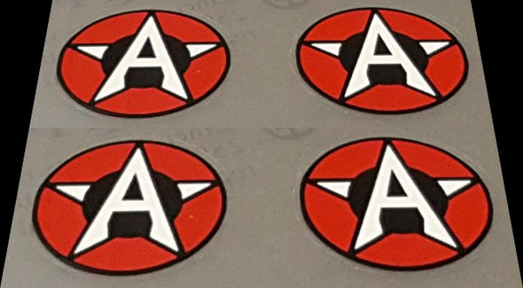 Airborne Circle/Star/A Down Tube Decals - Set of 4 - Choose Color