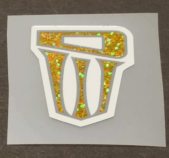 Dirtwerx Top Tube Badge Decal - Gold Sparkle