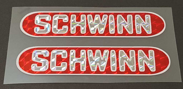 Schwinn Bicycle Sting Holographic Stay Decals - 1 Pair - Red