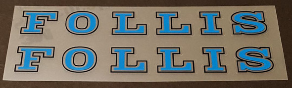 Follis Bicycle Down Tube Decals - Blue - 1 Pair