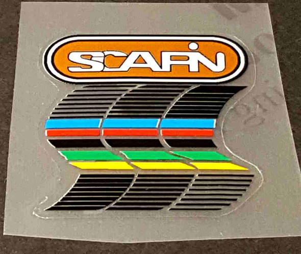 Scapin Bicycle Head Badge Decal - White on Copper