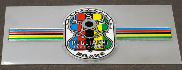 Pogliaghi Bicycle Chrome Head Badge Decal with Stripes