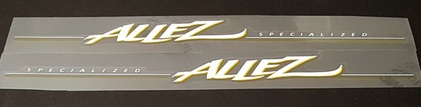 Specialized Allez Down Tube Decals with Glossy UV Laminate  - White/Yellow - Half Price