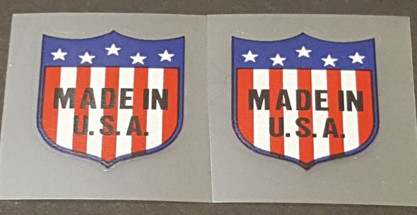 USA Flag/Shield Decals - 1 Pair - Black