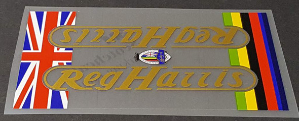 Reg Harris Bicycle Down Tube Wrap Decal - Choose Letter Color