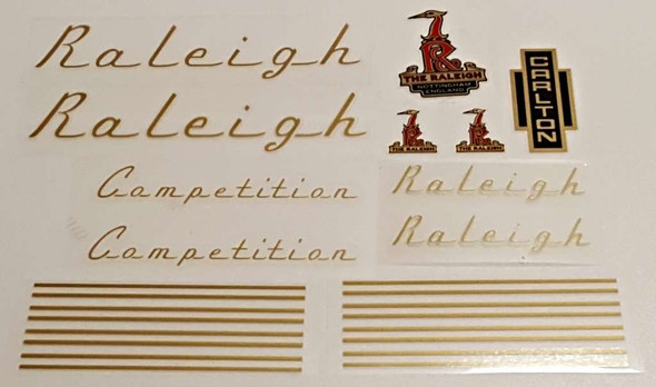 Raleigh 1970s Competition Bicycle Decal Set - Gold