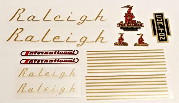 Raleigh 1970s International Bicycle Decal Set - Gold/Red