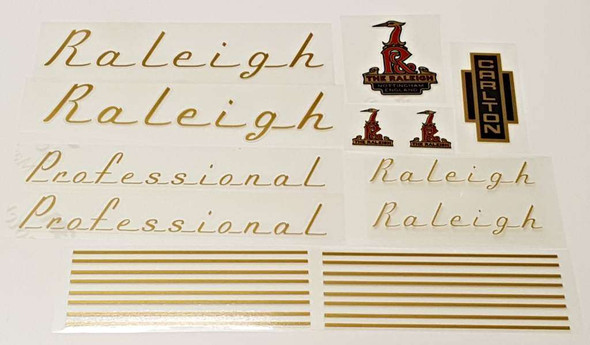Raleigh 1970s Professional Bicycle Decal Set - Gold