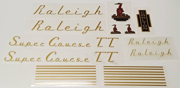 Raleigh 1970s Super Course TT Bicycle Decal Set - Gold