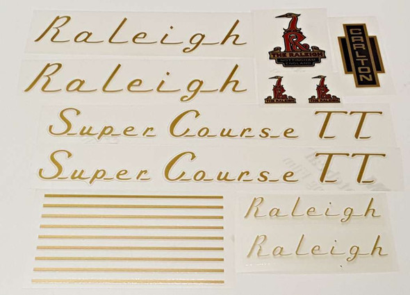 Raleigh 1970s Super Course TT Bicycle Decal Set--Gold