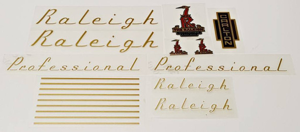 Raleigh 1970s Professional Bicycle Decal Set--Gold