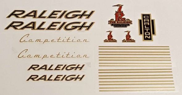 Raleigh 1970s Competition Bicycle Decal Set - Gold/Black