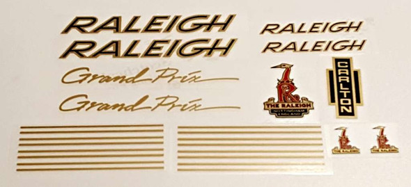 Raleigh 1970s Grand Prix Bicycle Decal Set - Gold/Black
