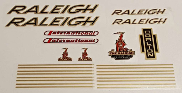 Raleigh 1970s International Bicycle Decal Set - Gold/Black/Red