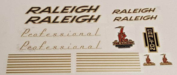 Raleigh 1970s Professional Bicycle Decal Set - Gold/Black