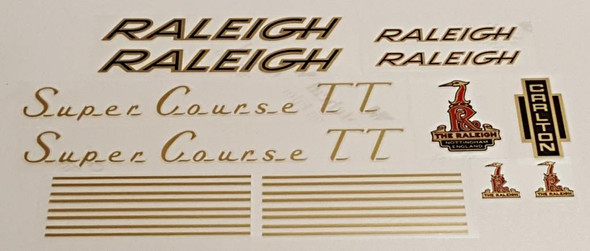 Raleigh 1970s Super Course TT Bicycle Decal Set - Gold/Black