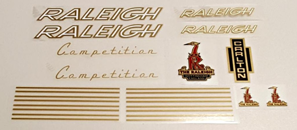Raleigh 1970s Competition Bicycle Decal Set - Gold/White