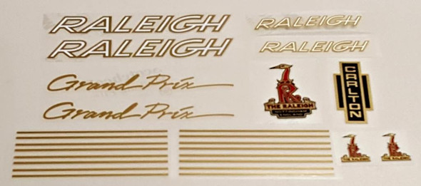 Raleigh 1970s Grand Prix Bicycle Decal Set - Gold/White