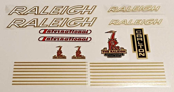 Raleigh 1970s International Bicycle Decal Set - Gold/White/Red