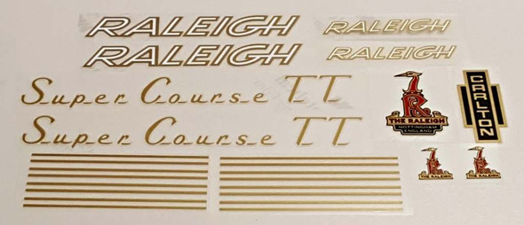 Raleigh 1970s Super Course TT Bicycle Decal Set - Gold/White