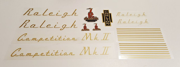 Raleigh 1970s Competition MK II Bicycle Decal Set - Gold