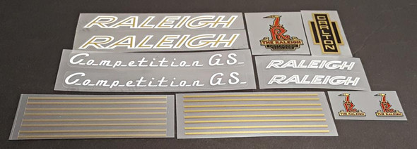 Raleigh 1970s Competition GS Bicycle Decal Set - White