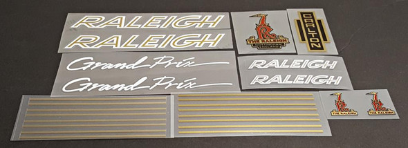 Raleigh 1970s Grand Prix Bicycle Decal Set - White