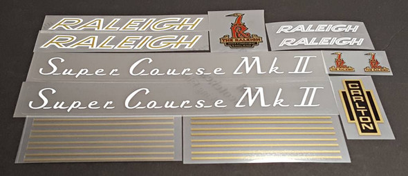 Raleigh 1970s Super Course MK II Bicycle Decal Set - White