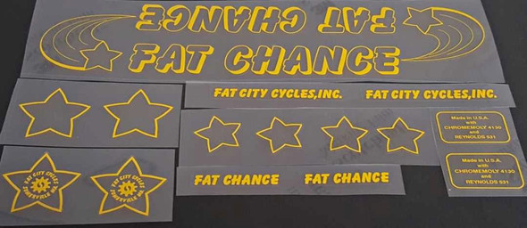 Fat Chance Somerville Bicycle Decal Set - Yellow
