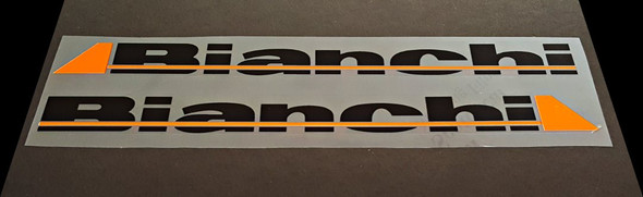 Bianchi Down Tube Decals - 1 Pair - Black/Orange - HALF PRICE