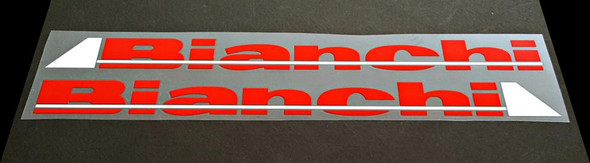 Bianchi Down Tube Decals - 1 Pair - Tomato/White - HALF PRICE