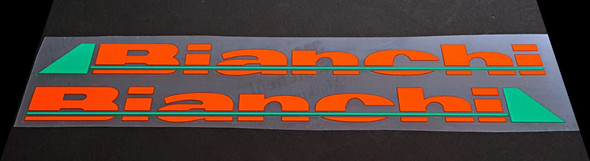 Bianchi Down Tube Decals - 1 Pair - Orange/Italian Green with Gloss UV Laminate - HALF PRICE