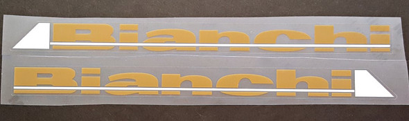 Bianchi Down Tube Decals - 1 Pair - Tan/White with Gloss UV Laminate- HALF PRICE