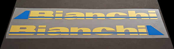 Bianchi Down Tube Decals - 1 Pair - Metallic Gold / Intense Blue - HALF PRICE