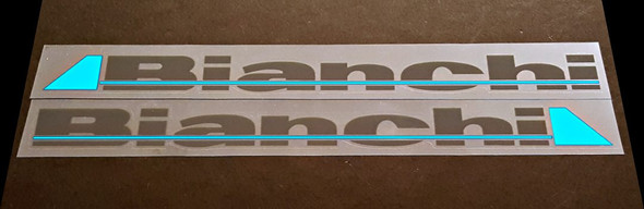 Bianchi Down Tube Decals - 1 Pair - Dark Grey / Bright Blue - HALF PRICE