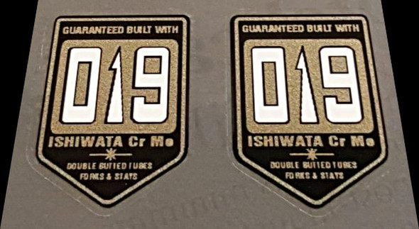 Ishiwata 019 Double Butted Fork Decals - 1 Pair - Black