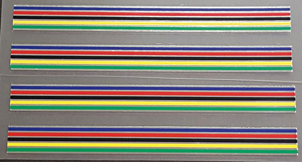 Striped Band Decals - 5 Color Chrome - 10mm - Set of 4