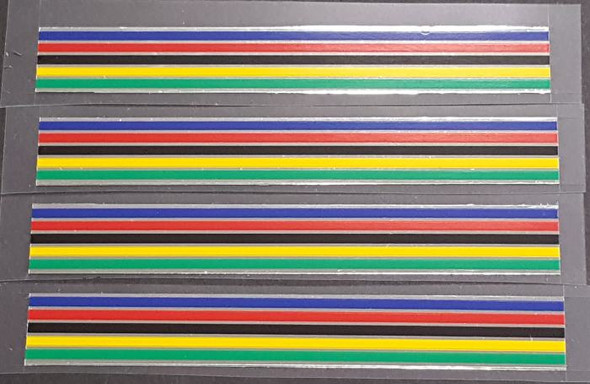 Striped Band Decals - 5 Color Chrome - 13mm - Set of 4