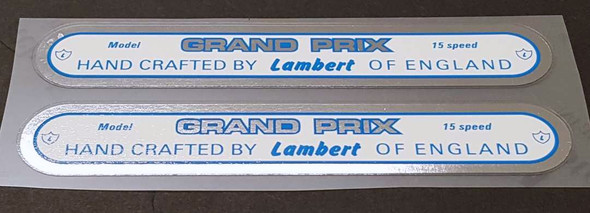 Lambert Grand Prix 15 Speed Down Tube Decals - 1 Pair - Chrome