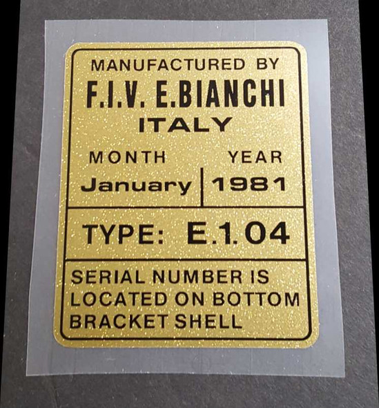 Bianchi Builder's Plate Decal - E.1.04