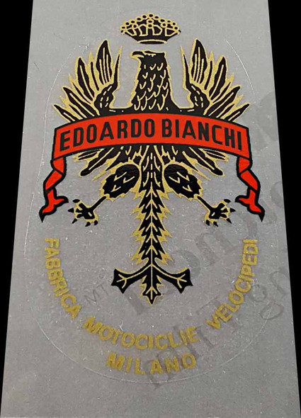 Bianchi Head Badge - Long Tail  with Lettering below (Choose Banner Color)