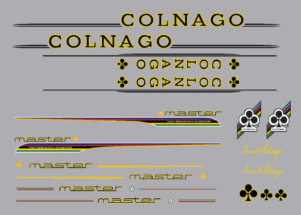 Colnago Master Bicycle Decal Set - Black letters - Yellow outline