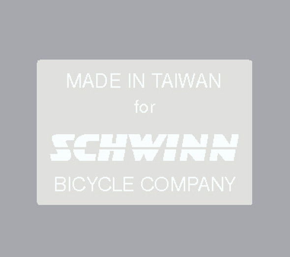 Schwinn Made in Taiwan Decal - Choice of Color on Clear