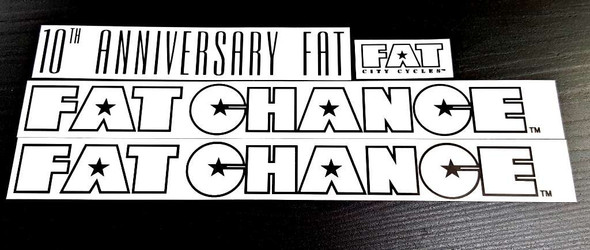 Fat Chance 10th Anniversary Bicycle Decal Set - Clear/Black OL