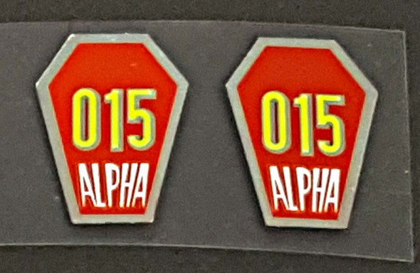 Ishiwata Alpha 15 Fork Decals - Red and Chrome - 1 pair