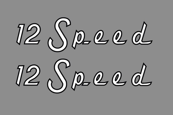 Raleigh 12 Speed Stay Decals -Black Outline - 1 Pair