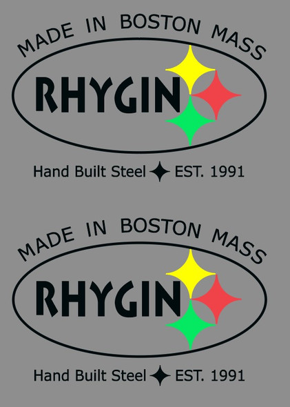Rhygin Manufacturing Decals - 1 Pair - Choice of Letter and Line Color on Clear
