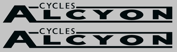 Alcyon Cycles Bicycle Down Tube Decals - 1 Pair - Choose Color