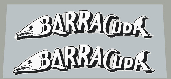 Barracuda Fish Down Tube Decals  - 1 Pair  - Choose Letter Color