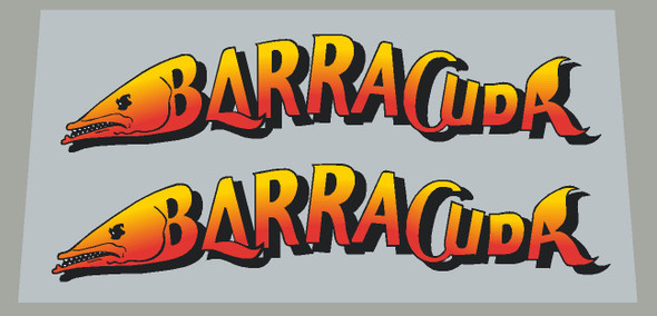 Barracuda Fish Down Tube Decals  - 1 Pair - Intense Red/Yellow